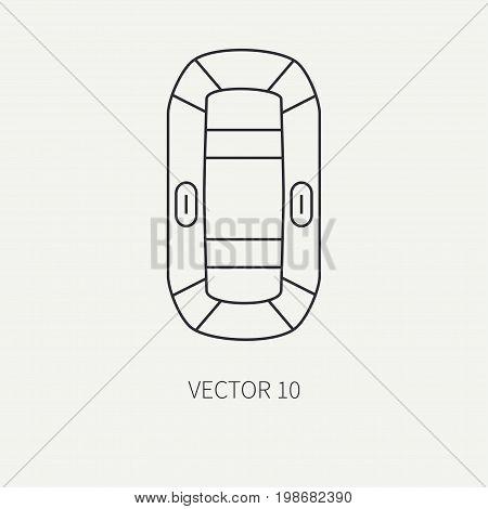 Line flat vector fisher and camping icon inflatable rubber boat. Fisherman equipment. Retro cartoon style. Holiday travel. Spinning. Lake. Bait. Catch. Illustration element for your design, wallpaper.