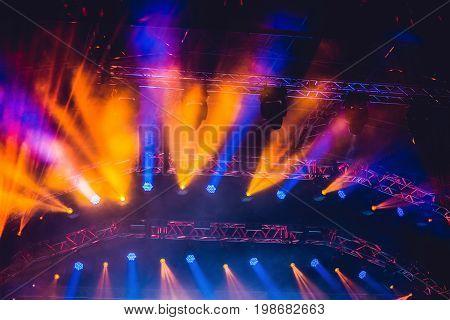 Concert Lighting Background. Illumination At A Rock Concert