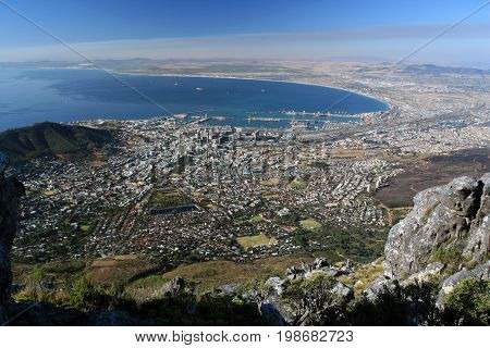 Residential areas sea port and Bay of Cape town. View from table mountain in Cape town South Africa