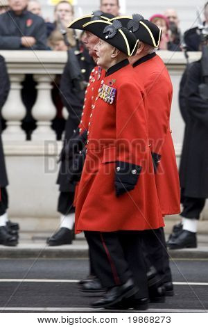 WHITEHALL, LONDON - NOV 8: Retired soldiers now stationed at the Royal Chelsea Hospital and known as Chelsea Pensioners attend the Royal British Legion Remembrance Parade November 8, 2009 in Whitehall
