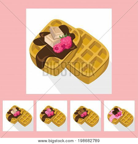 Waffles chocolate syrop desserts delicious vector illustration flavours
