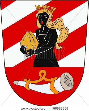 Coat of arms of Neu-Ulm is a district in Swabia Bavaria Germany. Vector illustration from the