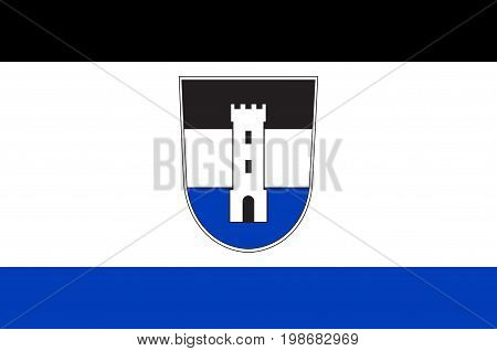 Flag of Neu-Ulm is the capital of the Neu-Ulm district and a town in Swabia Bavaria of Germany. Vector illustration