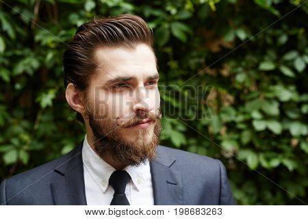Unshaven businessman in elegant suit in natural environment