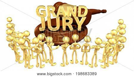 Grand Jury Legal Concept With The Original 3D Characters Illustration
