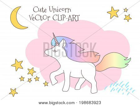 Cute magical unicorn with rainbow tail lovely graphics for t-shirts decals greeting card good vibes.