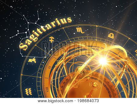 Zodiac Sign Sagittarius And Armillary Sphere On Blue Background. 3D Illustration.