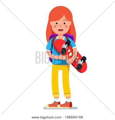 Teen kid redhead girl wearing backpack standing and holding skateboard with both hands. Young hipster skateboarder in keds. Flat style character vector illustration isolated on white background.