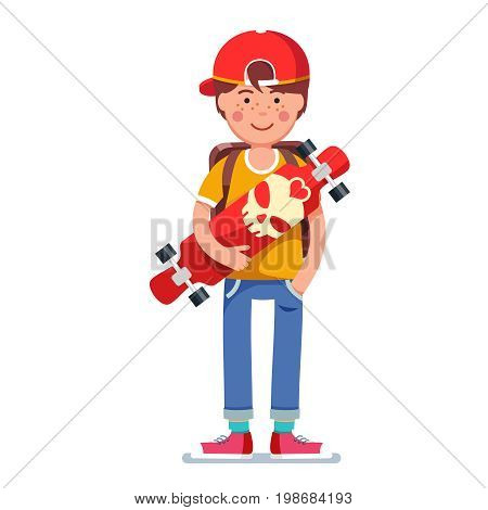 Teen kid boy in baseball cap wearing backpack standing and holding longboard skateboard with scull print. Young hipster in keds. Flat style character vector illustration isolated on white background.