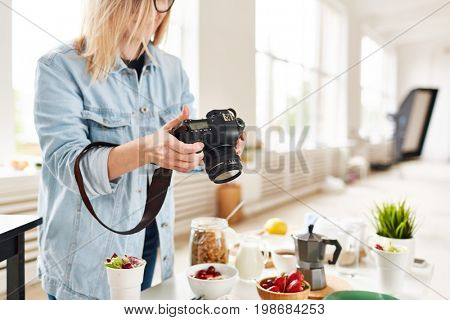 Professional food photographer shooting healthy food for stocks