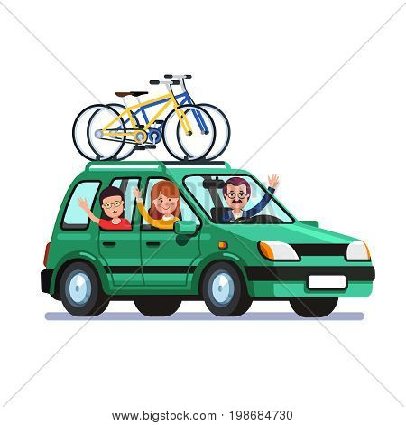 Happy family traveling by car with two bicycles mounted on the roof rack. Mother, father and son on outing road trip together. Flat style vector illustration isolated on white background.