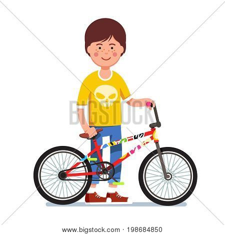 Teen kid standing next to his sticker bombed bmx bike. Boy showing his bicycle wearing cool looking scull print teeshirt. Flat style character vector illustration isolated on white background.