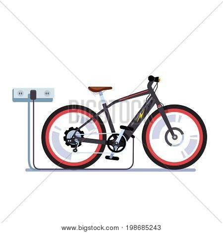 Modern electric bicycle charging its batteries with wall outlet plug wire. EV bike station. Flat style vector illustration isolated on white background.