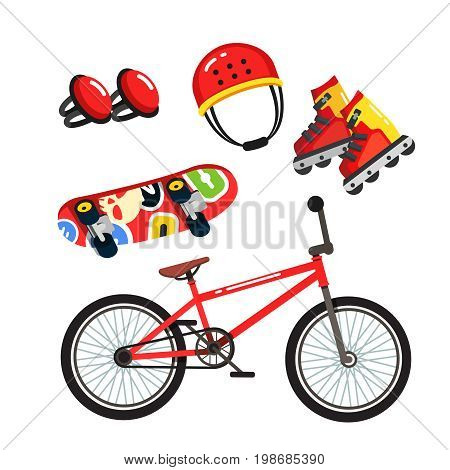 Street extreme sports gear set, bmx bike, inline blade roller skates, skateboard, safety knee pads and helmet. Flat style vector illustration isolated on white background.