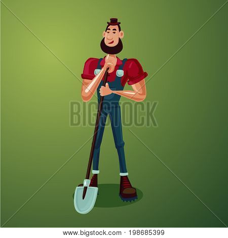 Funny farmer with a howel. Isolated cartoon character. 3d style.