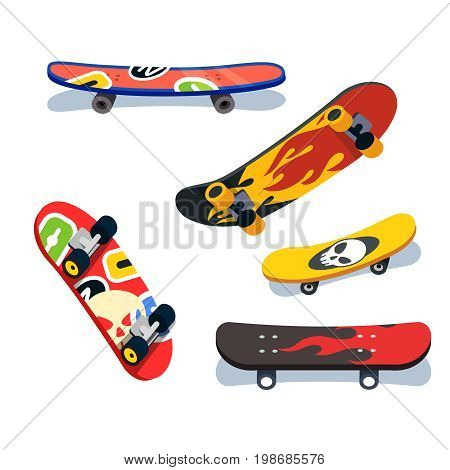 Various skateboards views and angles set. Skate boards with colorful modern prints and sticker bombs. Flat style vector illustration isolated on white background.