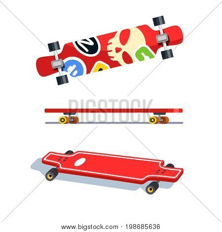 Longboard top, side and bottom views. Colorful long boards with modern sticker bombs. Flat style vector illustration isolated on white background.