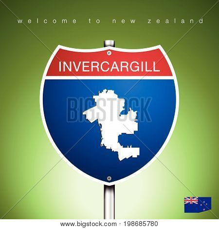An Sign Road America Style with state of New Zealand with green background and message INVERCARGILL and map vector art image illustration