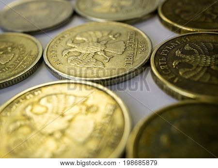 Ruble coins of different nominations in a row