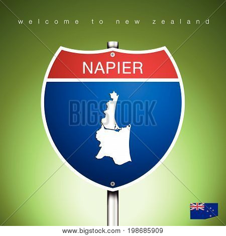 An Sign Road America Style with state of New Zealand with green background and message NAPIER and map vector art image illustration