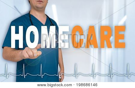 Homecare Doctor Shows On Viewer With Heart Rate Concept