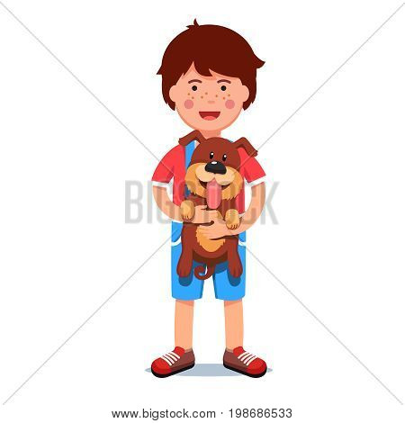 Kid holding puppy dog in his hands. Excited boy and his cute new pup friend with sticking out tongue standing together. Flat style vector illustration isolated on white background.