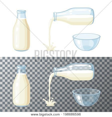 Milk set. Transparent glass bottle with milk pouring milk glass bowl. Vector cartoon illustration flat icon isolated on white.