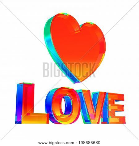 Multicolor Love Word And Heart Shape On White Background. 3D Illustration.