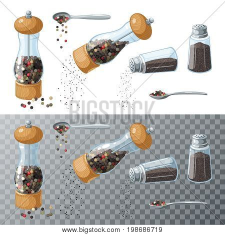 Pepper collection. Transparent glass mill filled pepper peas. Pepper shaker pouring ground pepper. Spoon with peppercorns. Vector illustration cartoon set flat icon isolated on white.