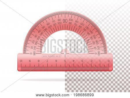 Transparent plastic red protractor on a transparent and white background. Instrument of measurement. Realistic vector illustration