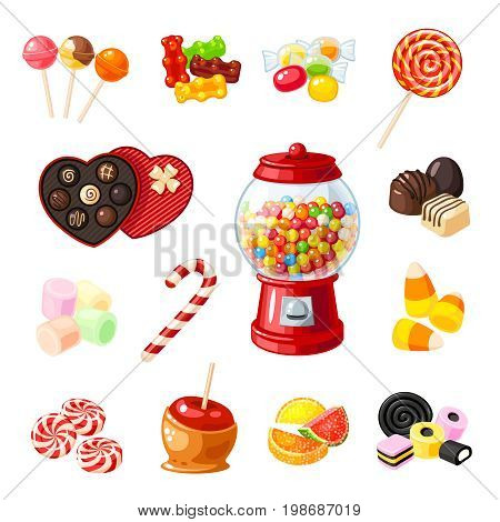 Set single cartoon candies: lollipop candy cane bonbon marmalade teddy bear licorice candied fruit gumball machine candy apple caramel. Vector illustration flat icon isolated on white.