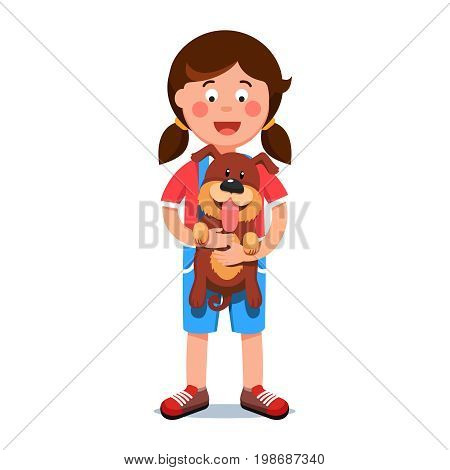 Kid holding puppy dog in his hands. Excited girl and her cute new pup friend with sticking out tongue standing together. Flat style vector illustration isolated on white background.