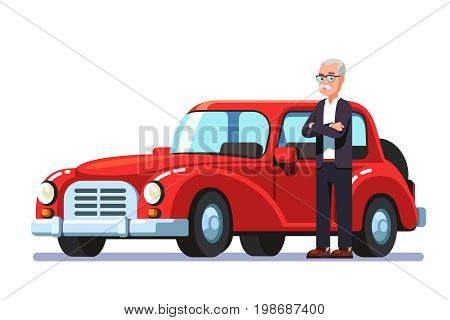 Old rich billionaire aristocrat man standing next to his own expensive luxury retro car. Flat style vector character illustration isolated on white background.