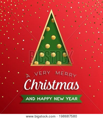 Poster with triangle fir tree with golden balls with confetti and inscription on red. Vector illustration icon.