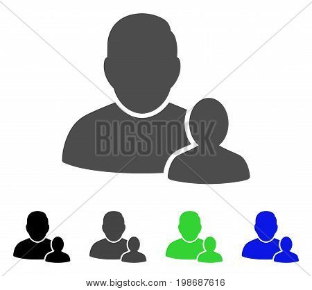 Child Parent flat vector pictograph. Colored child parent, gray, black, blue, green pictogram versions. Flat icon style for graphic design.