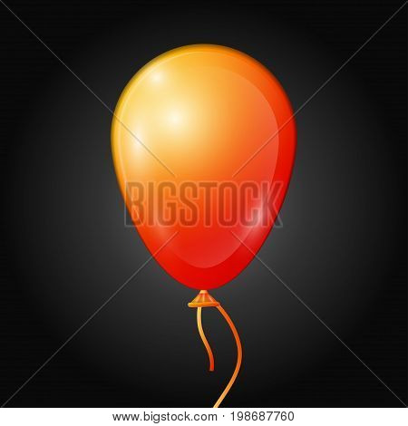 Realistic orange balloon with ribbon isolated on black background. Vector illustration of shiny colorful glossy balloon