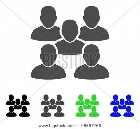 Friends Crowd flat vector illustration. Colored friends crowd, gray, black, blue, green pictogram variants. Flat icon style for graphic design.