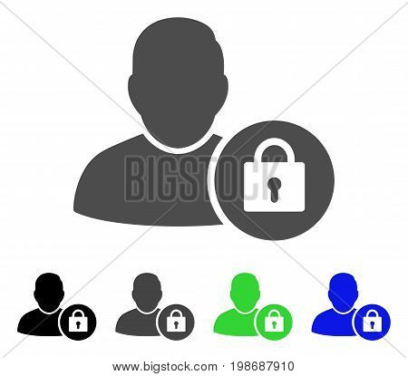 Locked User flat vector icon. Colored locked user, gray, black, blue, green pictogram versions. Flat icon style for web design.