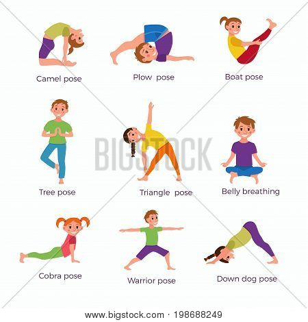 Yoga kids poses set. Cute cartoon gymnastics for children and healthy lifestyle sport illustration. Vector clip art happy kids fitness exercise and yoga asana set for fitness and activity design