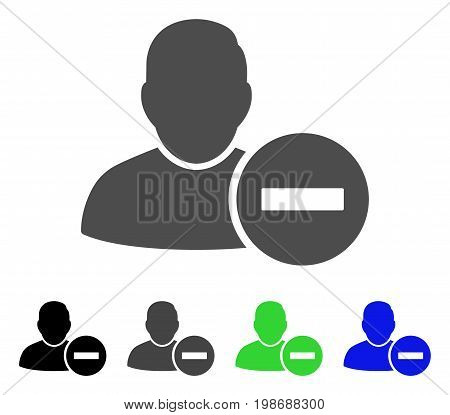 Remove User flat vector pictograph. Colored remove user, gray, black, blue, green pictogram variants. Flat icon style for web design.