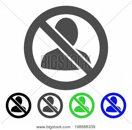 Restricted User flat vector pictogram. Colored restricted user, gray, black, blue, green pictogram variants. Flat icon style for application design.