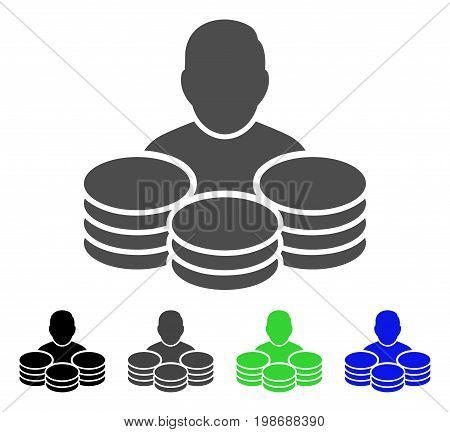 Rich Man flat vector pictogram. Colored rich man, gray, black, blue, green pictogram variants. Flat icon style for graphic design.