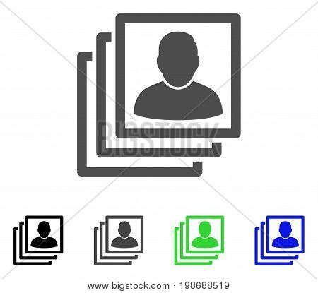 User Accounts flat vector illustration. Colored user accounts, gray, black, blue, green icon versions. Flat icon style for web design.