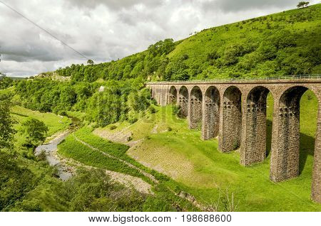 Oblique view of a disused Victorian railway viaduct in Smardale, Cumbria, England