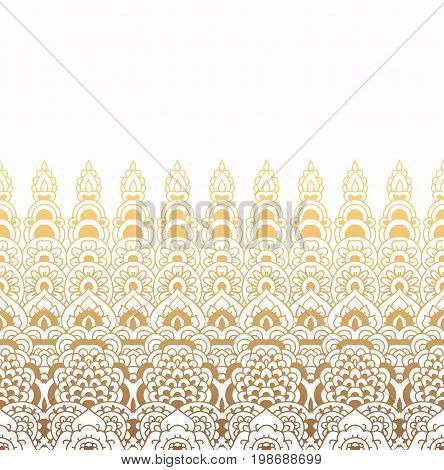 Seamless pattern of oriental ornament. Moroccan background. Lacy golden border on white background.