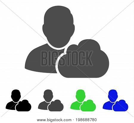 User Cloud flat vector icon. Colored user cloud, gray, black, blue, green icon versions. Flat icon style for graphic design.