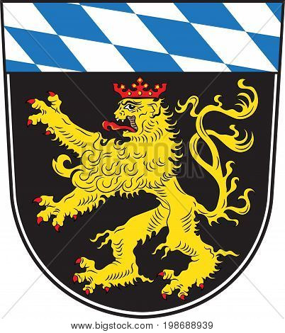Coat of arms of Upper Bavaria is one of the seven administrative districts of Bavaria Germany. Vector illustration