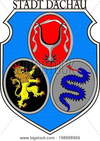 Coat of arms of Dachau is a town in Upper Bavaria in the southern part of Germany. Vector illustration