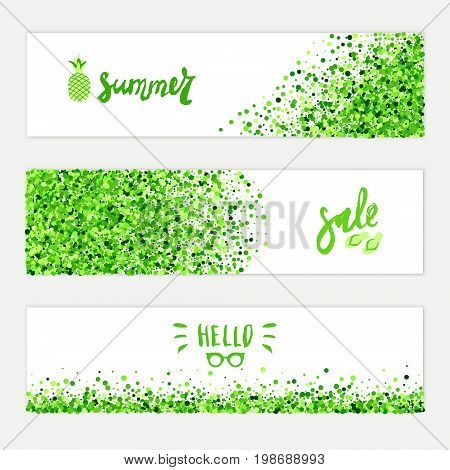 Summer sale vector horizontal banners set of scatter green circles for different design. All isolated and layered