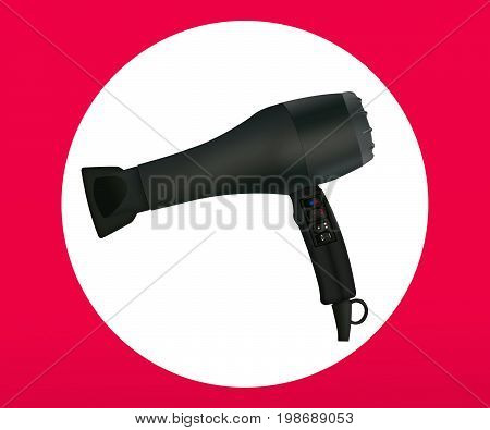 Black hair dryer isolated on white background.